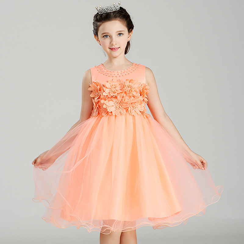 2017 Beading Embroidery Sleeveless Flower Girl Dresses for Weddings Lace First Communion Dresses for Girls Pageant Dresses<br>