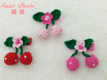 Boutique 30pcs/3C Fashion Cute Crochet Cherry Girls Hairpins Solid Kawaii Floral Pom Pom Hair Clips Headware Accessories(China)