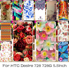 TAOYUNXI Silicone Plastic Phone Cover Case For HTC Desire 728 728G Dual Sim D728T D728W Rose Flower Bag For HTC Desire 728 Cover(China)