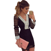 2017 New Women Dress Summer Spring Sexy Slim Net Yarn Lace V-Neck Stitching Broken Beautiful Black And White Dress(China)