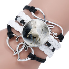 Trendy Black Rope White Horse Photo Glass Cabochon Leather Charm Bracelet For Women Handmade Heart Infinity Love Bracelets Gifts