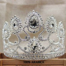 4.7inch luxury pageant peacock silver crystal carnival/festival queen crown headband hair ornamets decorative tiara crown