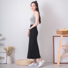 2017 spring and summer plus size long underskirt slim solid big bottom modal half slip elastic waist all match petticoat(China)