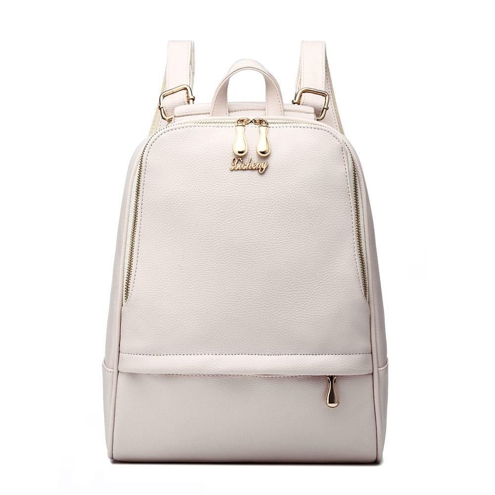 2017 White Minimalist Women Soft PU Leather Backpack Fashion Lady Durable Shopping Daypack Black Versatile Travel Shoulder Bag<br><br>Aliexpress