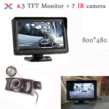 Parking Assistance 4.3 Inch TFT LCD Monitor Mirror with CCD 7 Ir Infrared Night vision Car Rearview Camera Parking System 2017
