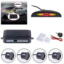 ZUCZUG Car Auto Parktronic LED Parking Sensor With 4 Sensors Reverse Backup Car Parking Radar Monitor Detector System(China)