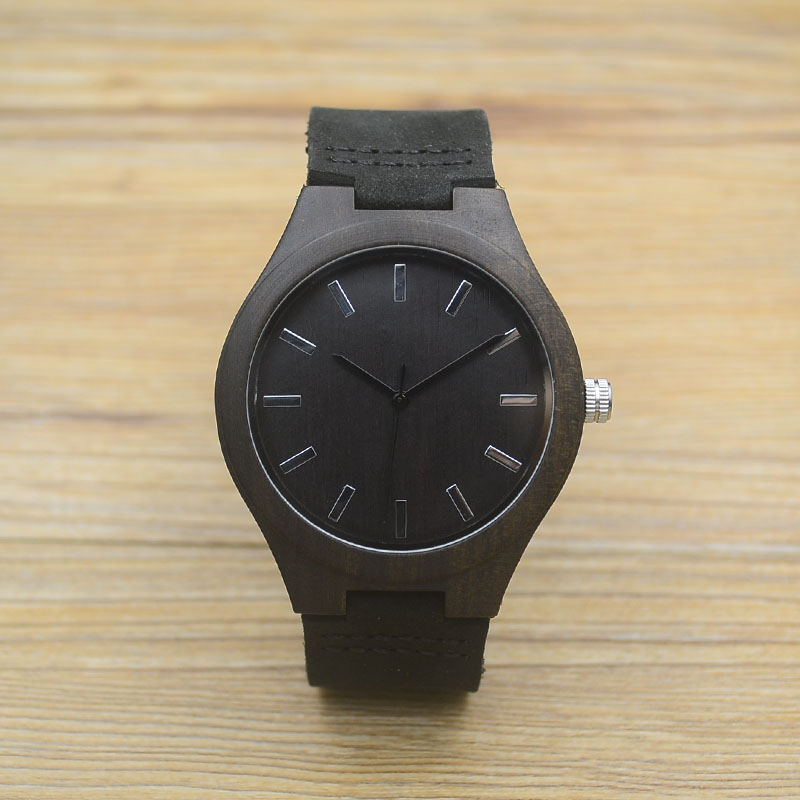 Fashion Bamboo Real Leather Men Wood Watches Black Brown Band Japan Quartz Wooden Wristwatch Women Luxury Luminous 2017 With Box<br><br>Aliexpress