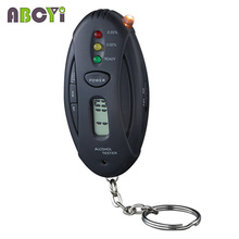Mini Flashlight Led Keychain Alcoholimetro Breathalyzer Parking Gadgets Digital Alcohol Tester with Lcd Clock Timer & Retail Box(China)