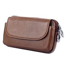 Genuine Leather Zipper Wallet Bag Case For Samsung Galaxy S6 S7 Edge S8 Plus Note 4 Note 5 Universal Belt Clip Phone Pouch Cover(China)