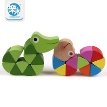 Lovely animal Puzzle Crocodile Caterpillar Children education Wooden toy Baby toys finger flexibility Training