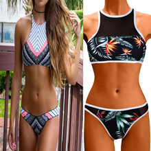 Buy Sexy Women Print Floral Brazilian Bikini Sets Monokini Halter Crop top High Neck Swimwear Swimsuit Biquini Push Bathing Suit
