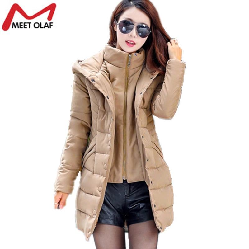 2017Women Winter Coat Hooded Long Cotton Padded Parkas Fake Two pieces 2017 Middle-aged Female winter Jackets Slim Outwear YL918Îäåæäà è àêñåññóàðû<br><br>