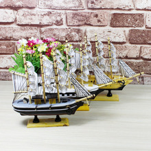 Vintage Home Decor Wood Sailboat Ship Model Collectible Ornament Christmas Birthday Gifts Home Decoration 2pcs Random Color