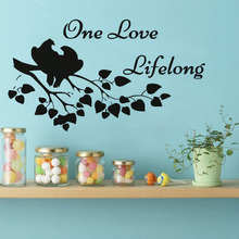 One Love Lifelong Wall Stickers Love Confession Sayings Birds In The Tree Vinyl Adhesive Stickers Living Room Home Decoration(China)