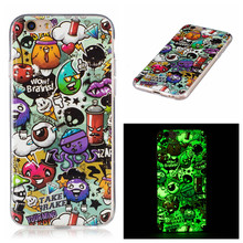 For iPhone 7 7Plus Fashion Ultra Thin Printed Luminous Soft TPU Case For iPhone 5C 5S 5G SE 6 6S 6S Plus Phone Back Housings