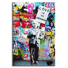 "1 PCS Banksy Art ""Love Is The Answer"" Wall Art Large Colorful Graffiti Street Artwork A Man Holding a Sign Canvas Print Painting(China)"