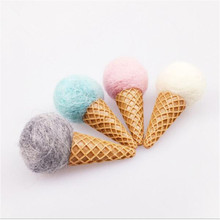 Event Party Supplies Ornament Living Room 5PC Felt Ball Ice Cream DIY Floral Bouquet circle Handmade Wedding Decorations
