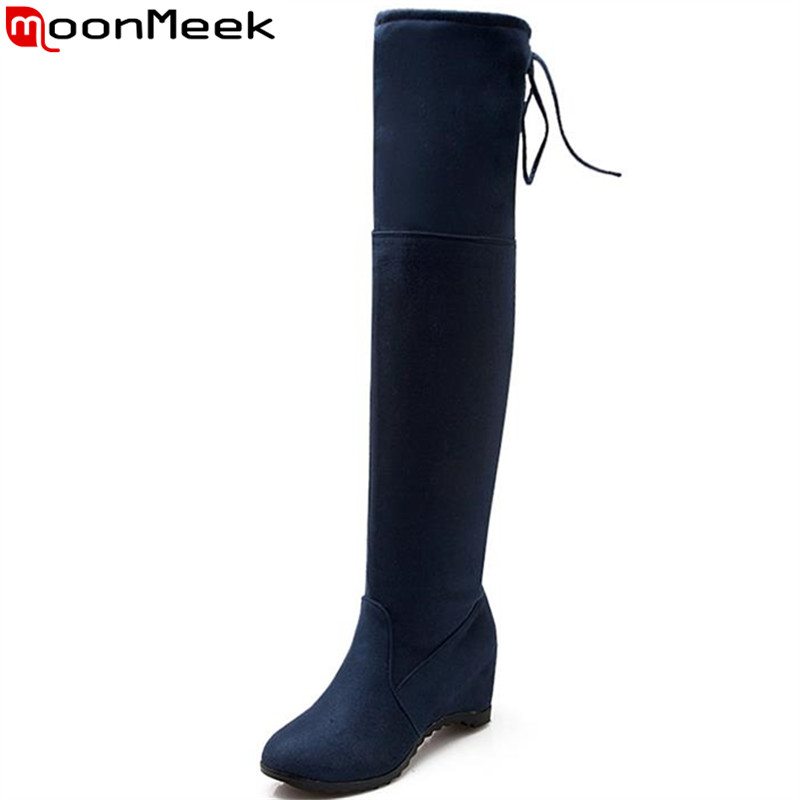 MoonMeek knee high boots for women round toe height increasing autumn solid elegant han edition fashion boots high quality<br><br>Aliexpress
