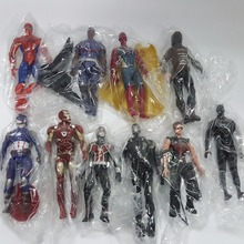 Super Hero Action Figures Toys Iron man Spiderman Vision Superhero Figures Anime Model Lighting Toy 150mm 10pcs/set