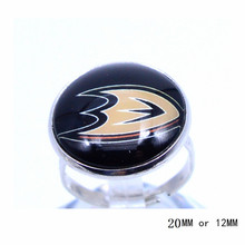 Anaheim Ducks Ring Ice Hockey Charms NHL Sport Jewlery Round Glass Dome Silver Plated  Ring For Women Girl Adjustable