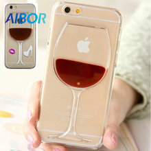 AIBOR Hot Red Wine Glass Red Lips Liquid Quicksand Transparent Phone Case Hard Back Cover For iPhone 4S 5S SE 6 6S PLUS 7 8 PLUS