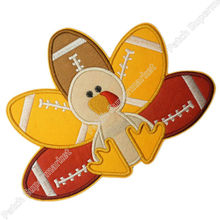 "7"" Large Turkey Football Player Thanksgiving Applique Embroideried Uniform Cartoon Costume Cosplay Embroidered iron on patch(China)"