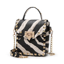 Fashion Zebra Animal Pattern Women PU Leather Handbags Female Shoulder Bags with Rivet Mini Casual Crossbody Bag for Lady