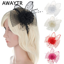 2017 Ladies Elegant Wedding Hair Accessories Bridal Fascinator Cocktail Hat for Party New Veil Pearl Black White Headdress