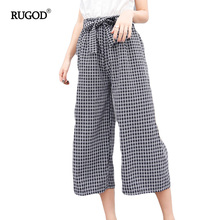 Rugod 2017 Wide Leg Pants for Women Summer Cotton Calf-length Pants Femme Casual Loose Hanging Trousers Belt Wrap Plaid Pants(China)