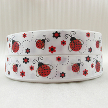 "7/8""(22mm) ladybug monkey high quality printed polyester ribbon 5 yards, DIY handmade materials, wedding gift wrap,5Yc1646"