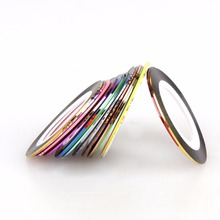 30 Rolls Mixed Colors Nail Art Strips Tape Line 3D DIY Nail Striping Decoration For UV Gel Polish Nail Art Adhesive Sticker(China)