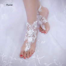 Cheap Barefoot Sandals Stretch Anklet Chain With Toe Retaile Sandbeach Wedding Bridal Bridesmaid Foot Jewelry(China)