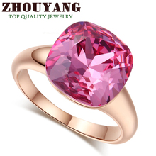 Top Quality Magic Pink Crystal Rose Gold Color Fashion Jewelry Ring Made With Austrian Crystals Full Sizes Wholesale ZYR117