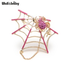 Rhinestone Black Pink Magnet Spider And Cobweb Brooch Women Men Suits Brooches Pin Size 5.4*4.6CM Halloween Decorate Accessories(China)
