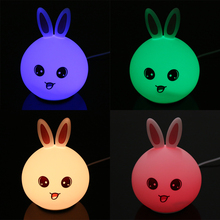 1W Cute silicone Light Rabbit Shape Bunny Lights Luminous Toys Gift Children Room Bedside Table Decoration Night Silicone Lamp(China)