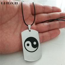 LPHZQH fashion Stainless Steel Dog Tag necklace Yin Yang Taichi pendant necklace for Women Men chain choker necklace jewelery