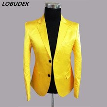 man blazer suit yellow performance stage wear for singer dancer nightclub emcee show party prom bar fashion(China)