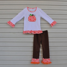 Orange Pumpkin Embroidery Ruffle Top and Pant Kids Outfits Cotton Baby Girls Halloween Clothes H001