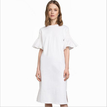 SMSS 100% Cotton Women's Dress 2017 Summer New Hot Casual Ruffles Pleated White Korean Style Dresses Vestido For Female Big Size(China)