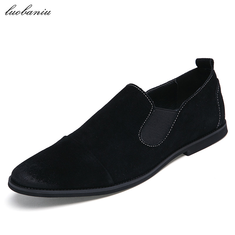 Cow Suede Shoes Men Loafers British Style Moccasins Men Shoes Casual Slip On Black Gray Brown<br>