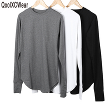 QoolXCWear New Thumb Hole Cuffs Long Sleeve Tyga Swag Style Man High Low Side Split Hip Hop T Shirt T-shirt Men Clothes(China)