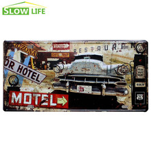US Route 66 Motel Car License Plate Vintage Home Decor Tin Sign Cafe Bar Garage Decorative Metal Sign Retro Bumpy Metal Plaque(China)