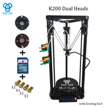 the newest design HE3D full metal extruder hotend K200 dual heads delta 3d printer kit with heatbed- support multi material