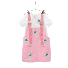 kids clothes summer toddler girls clothes sets children clothing solid short sleeve white t shirt+pineapple printed strap dress(China)