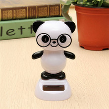 Solar Powered Glasses Panda Toys Flip Flap Swinging Shook His Head Doll(China)
