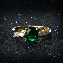 CZ Stone Wedding Party Rings For Women  Gold Color Fashion Blue Red Green Stone Engagement Ring Cubic Zirconia Jewelry