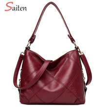 High Quality PU Leather Women Shoulder Bags Fashion Patchwork Women Handbags Famous Brands Women Bucket Bags Casual Tote Bags(China)