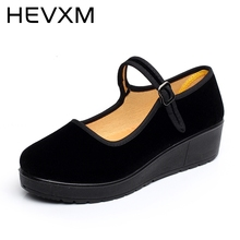 HEVXM New 2017 Thick Base Slope With Women Shoes Black Muffin High-Heeled Female Anti-Skid Dance Casual Shoes Jobs Mom Shoes