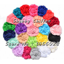 30 pcs/lot ,  3'' chiffon  rose  shabby flowers , chiffon flowers for hair accessories 25 colors