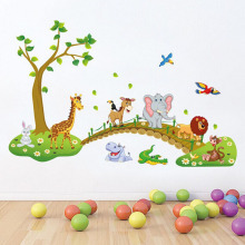 2016 New Arrival Large Jungle Animals Tree Wall Sticker Kids Nursery Decals Girls Bedroom Mural Hot Sale Creative